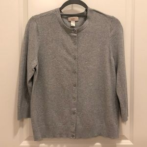 Grey Crew Neck Cardigan